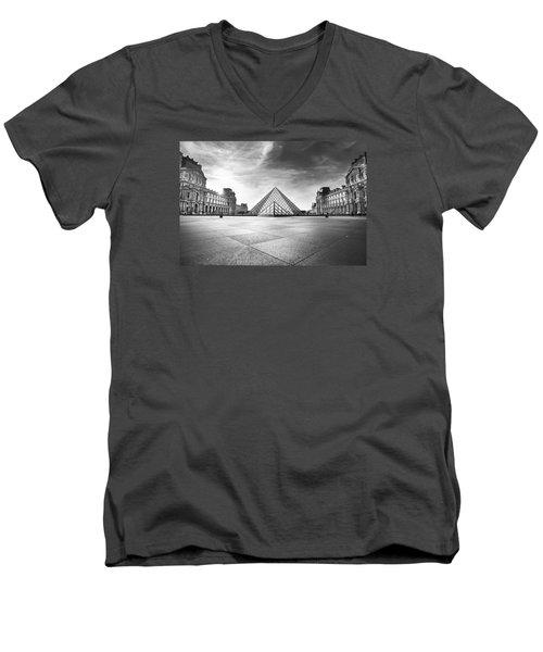 Louvre Bw Men's V-Neck T-Shirt by Ivan Vukelic