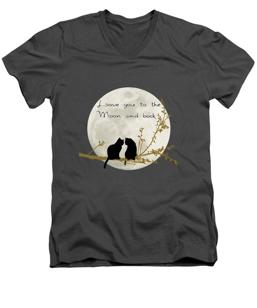 Love You To The Moon And Back Men's V-Neck T-Shirt by Linda Lees