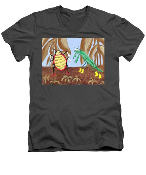 Lucy And Pablo Need A Garden Men's V-Neck T-Shirt by Jan Watford