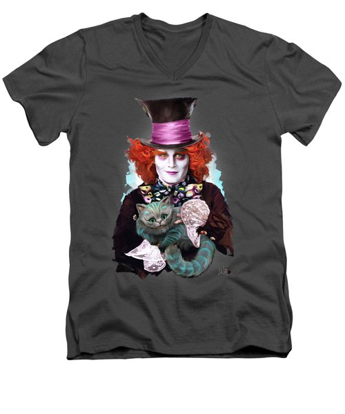 Mad Hatter And Cheshire Cat Men's V-Neck T-Shirt by Melanie D