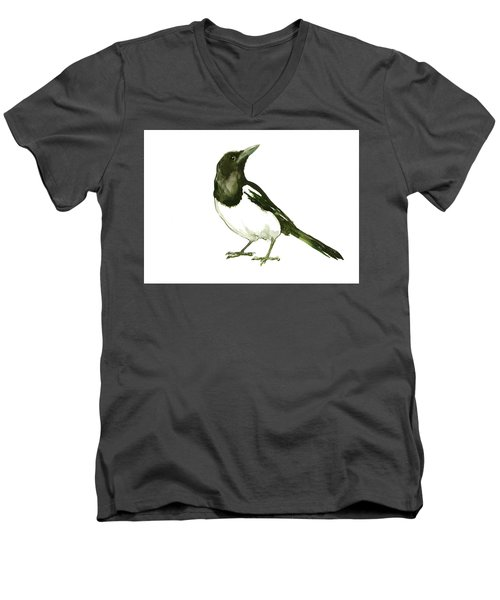 Magpie Men's V-Neck T-Shirt by Suren Nersisyan