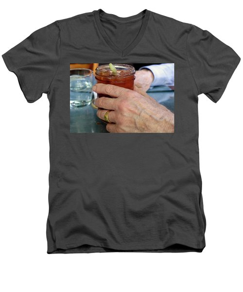 Mans Hand Holding Bloody Mary  Men's V-Neck T-Shirt by Beth Wolff