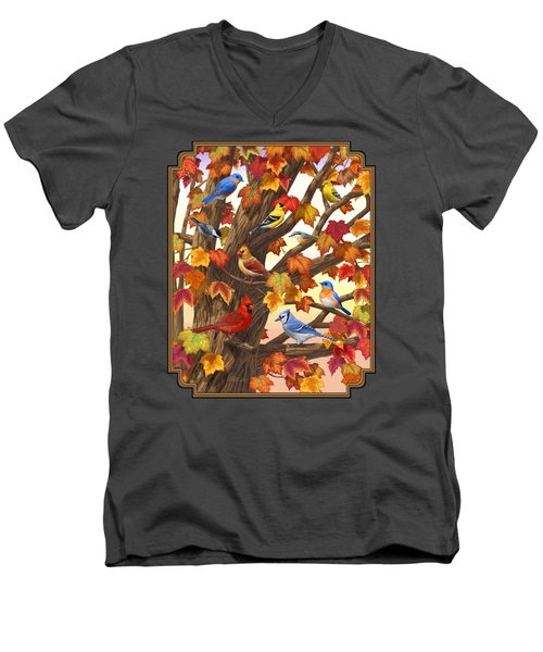 Maple Tree Marvel - Bird Painting Men's V-Neck T-Shirt by Crista Forest