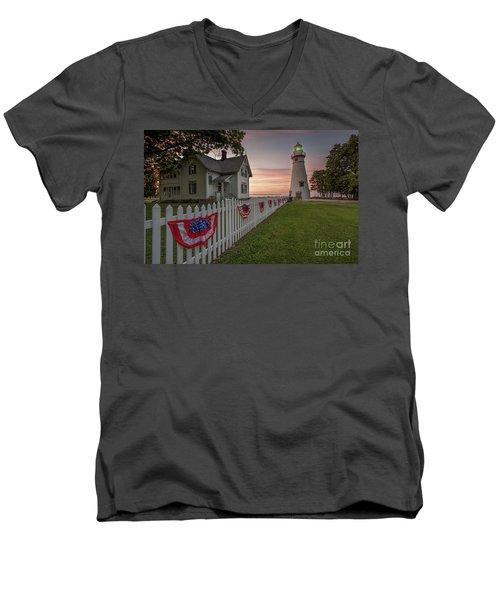 Marblehead Memorial  Men's V-Neck T-Shirt by James Dean