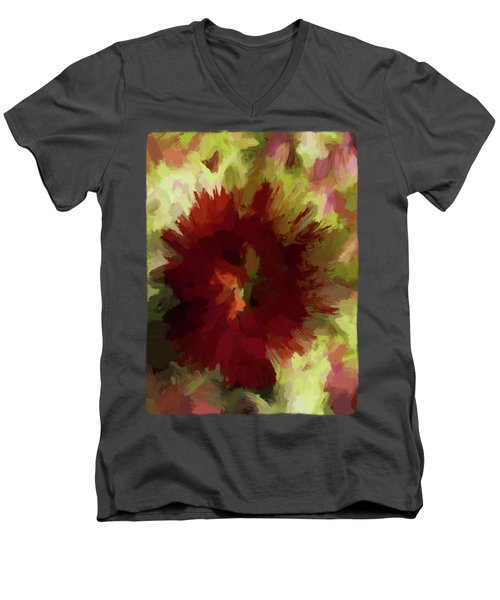 Maroon Flower 4 Men's V-Neck T-Shirt by Jackie VanO