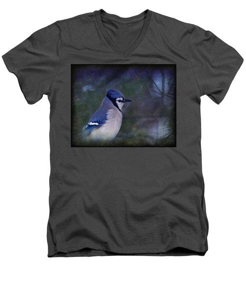 Me Minus You - Blue Men's V-Neck T-Shirt by Evelina Kremsdorf