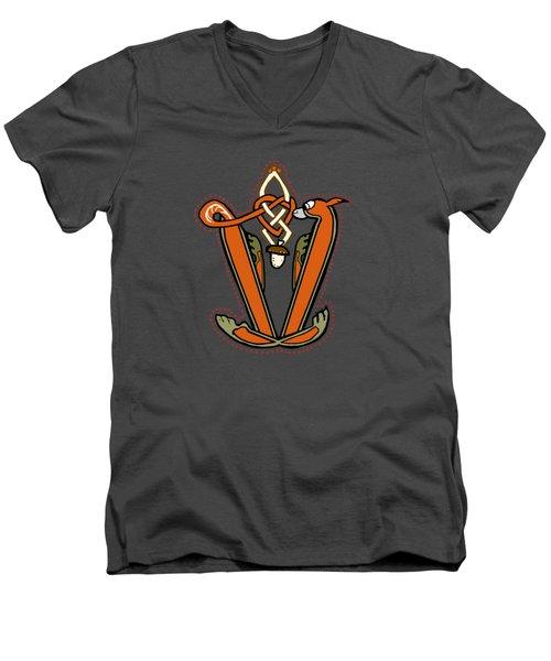 Medieval Squirrel Letter V Men's V-Neck T-Shirt by Donna Huntriss
