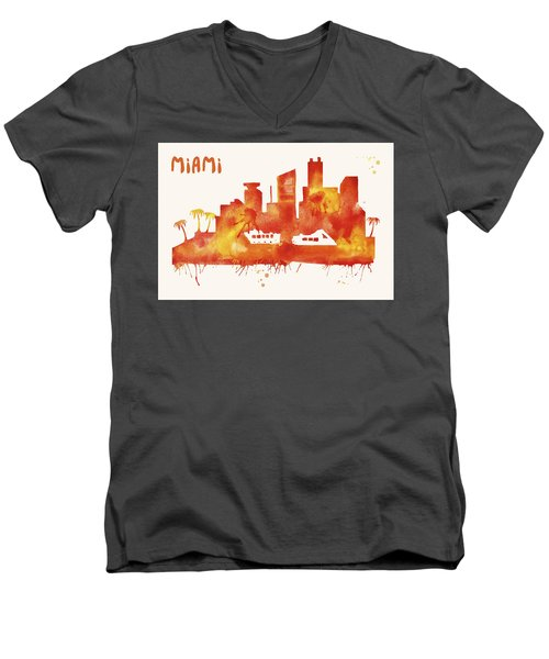 Miami Skyline Watercolor Poster - Cityscape Painting Artwork Men's V-Neck T-Shirt by Beautify My Walls