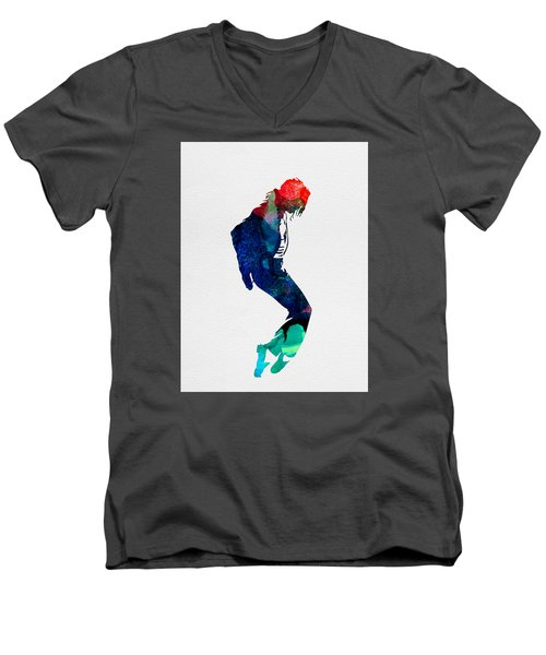 Michael Watercolor Men's V-Neck T-Shirt by Naxart Studio