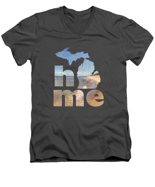 Michigan Home Men's V-Neck T-Shirt by Emily Kay