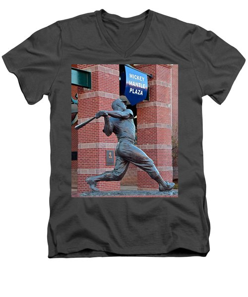 Mickey Mantle Men's V-Neck T-Shirt by Frozen in Time Fine Art Photography