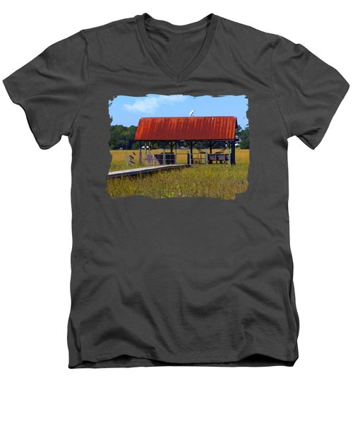 Midday Island Creek View Men's V-Neck T-Shirt by Deborah Smith