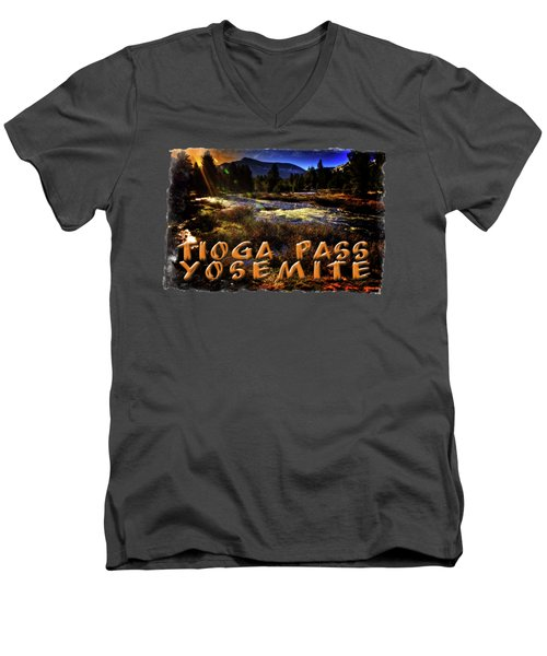 Mine Creek Between Lakes Ellery And Tioga Men's V-Neck T-Shirt by Roger Passman