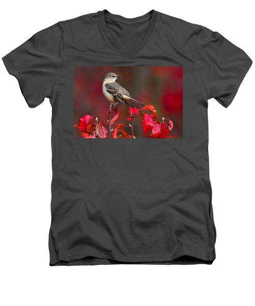 Mockingbird On Red Men's V-Neck T-Shirt by William Jobes