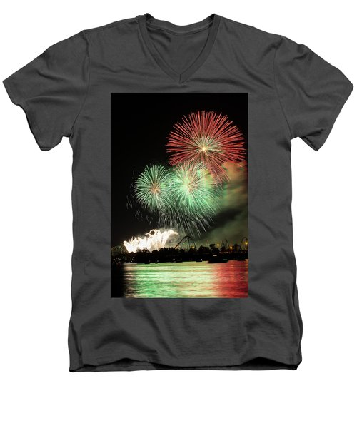 Montreal-fireworks Men's V-Neck T-Shirt by Mircea Costina Photography