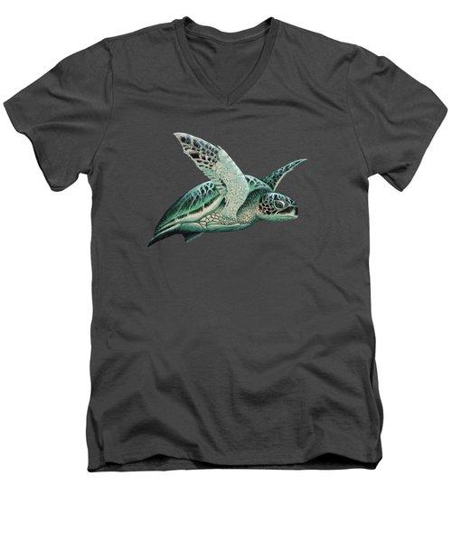 Moonlit Green Sea Turtle Men's V-Neck T-Shirt by Amber Marine