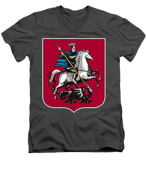 Moscow Coat Of Arms Men's V-Neck T-Shirt by Frederick Holiday