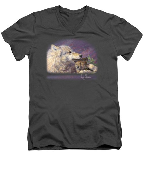 Mother's Love Men's V-Neck T-Shirt by Lucie Bilodeau