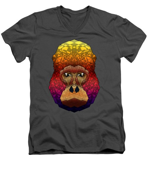 Mountain Gorilla Men's V-Neck T-Shirt by Dusty Conley