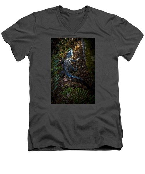 Mr Alley Gator Men's V-Neck T-Shirt by Marvin Spates