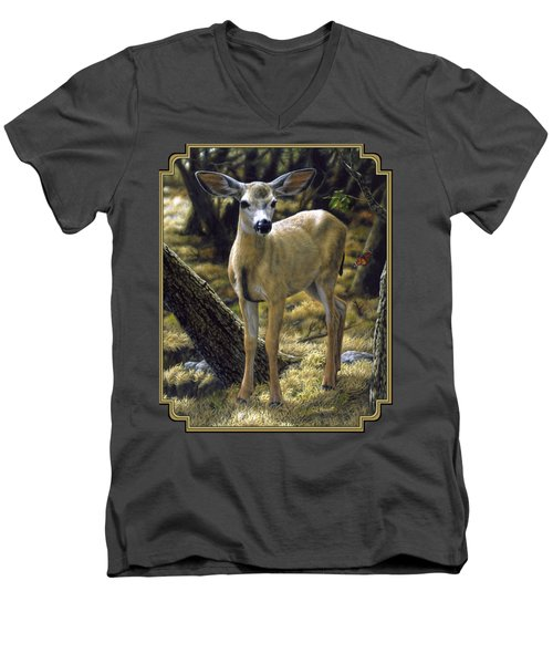 Mule Deer Fawn - Monarch Moment Men's V-Neck T-Shirt by Crista Forest