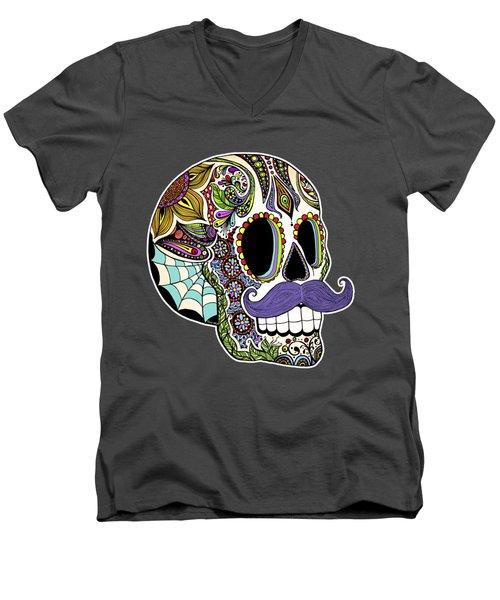 Mustache Sugar Skull Men's V-Neck T-Shirt by Tammy Wetzel