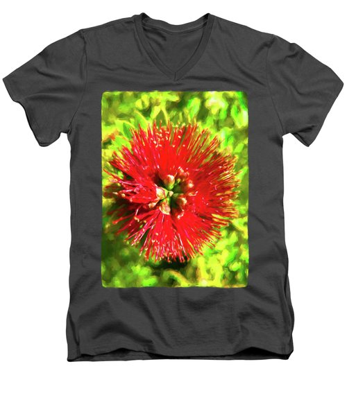 My Surreal Christmas Flower Men's V-Neck T-Shirt by Jackie VanO
