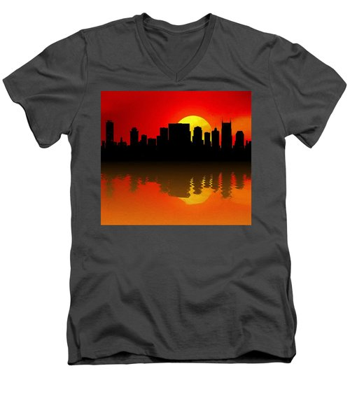 Nashville Skyline Sunset Reflection Men's V-Neck T-Shirt by Dan Sproul