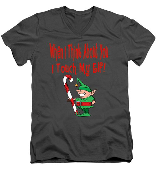 Naughty Christmas Elf Men's V-Neck T-Shirt by Susan Cooper