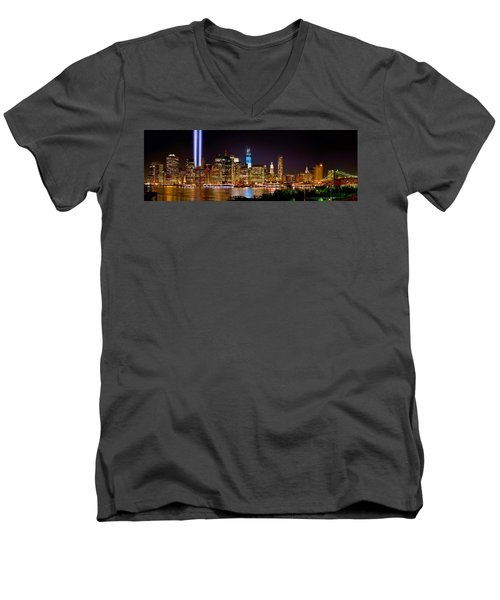 New York City Tribute In Lights And Lower Manhattan At Night Nyc Men's V-Neck T-Shirt by Jon Holiday