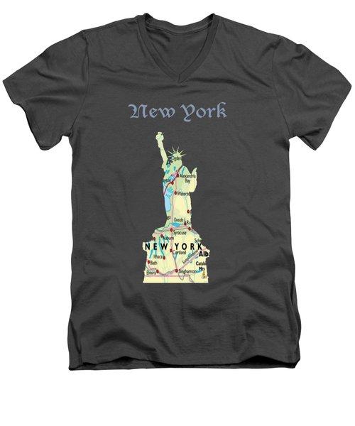 New York Men's V-Neck T-Shirt by Art Spectrum