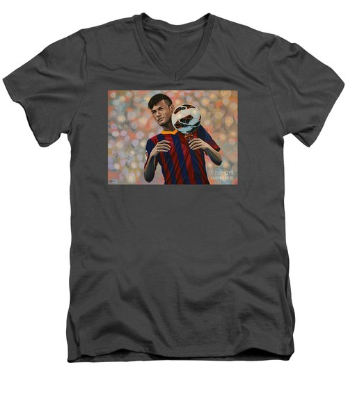 Neymar Men's V-Neck T-Shirt by Paul Meijering