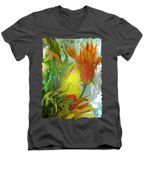 Orange Tulip Men's V-Neck T-Shirt by Kathy Moll