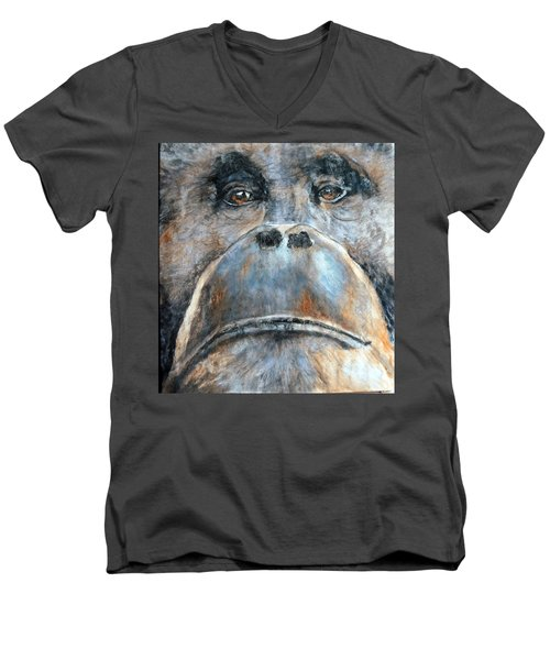 Orangutan Men's V-Neck T-Shirt by Maureen Murphy