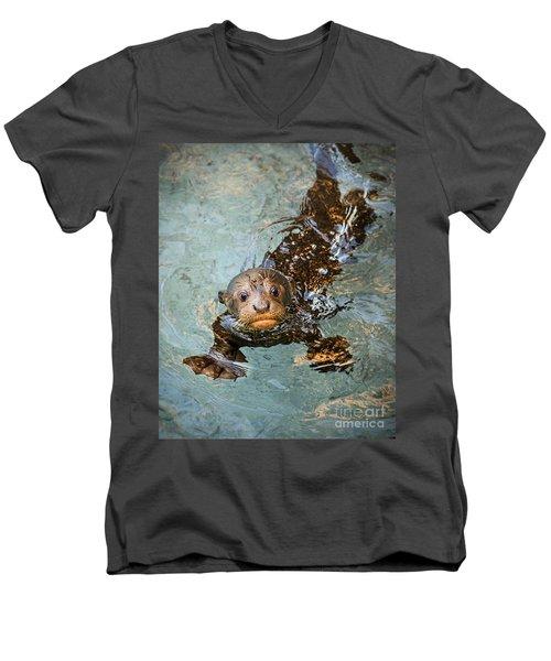 Otter Pup Men's V-Neck T-Shirt by Jamie Pham