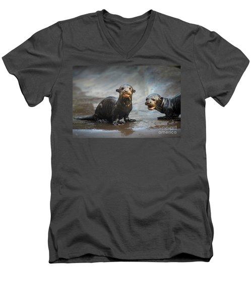 Otter Pup Pair Men's V-Neck T-Shirt by Jamie Pham