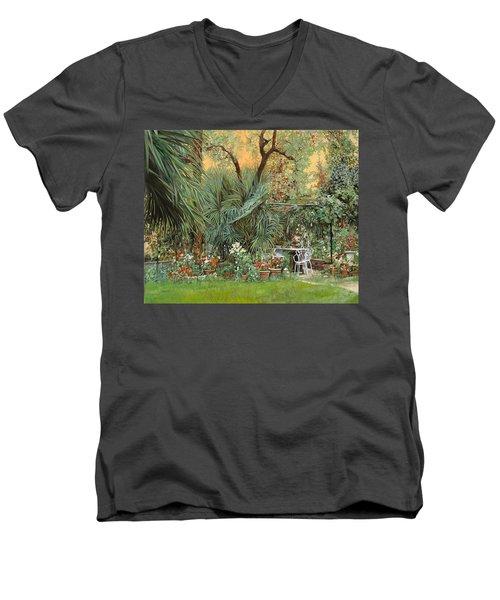 Our Little Garden Men's V-Neck T-Shirt by Guido Borelli