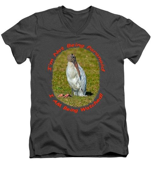 Paranoid Woodstork Men's V-Neck T-Shirt by John M Bailey