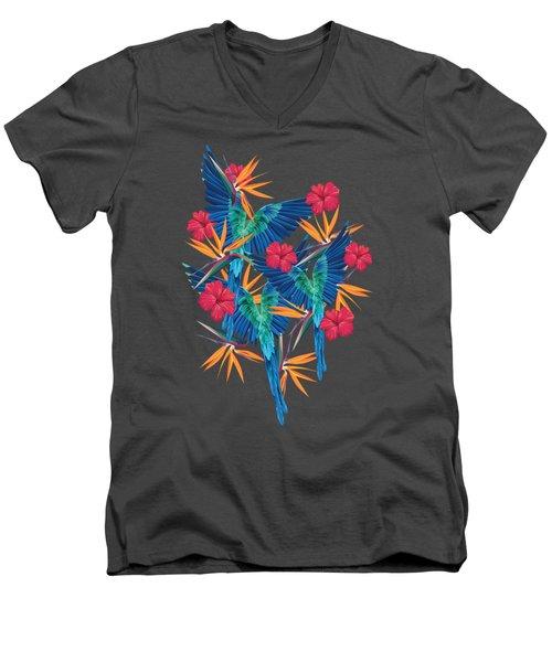 Parrots Men's V-Neck T-Shirt by Marta Olga Klara