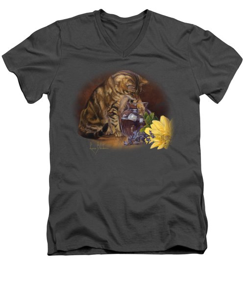Paw In The Vase Men's V-Neck T-Shirt by Lucie Bilodeau
