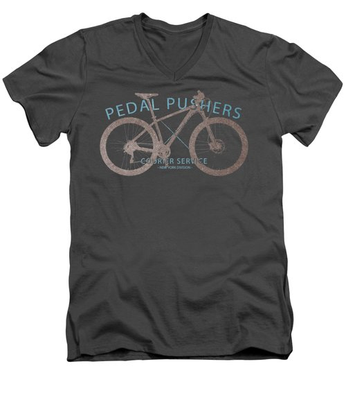 Pedal Pushers Courier Service Bike Tee Men's V-Neck T-Shirt by Edward Fielding