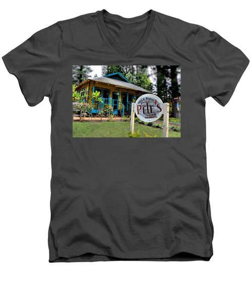 Pele's Lanai Style Men's V-Neck T-Shirt by DJ Florek