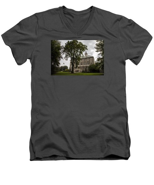 Penn State Old Main And Tree Men's V-Neck T-Shirt by John McGraw