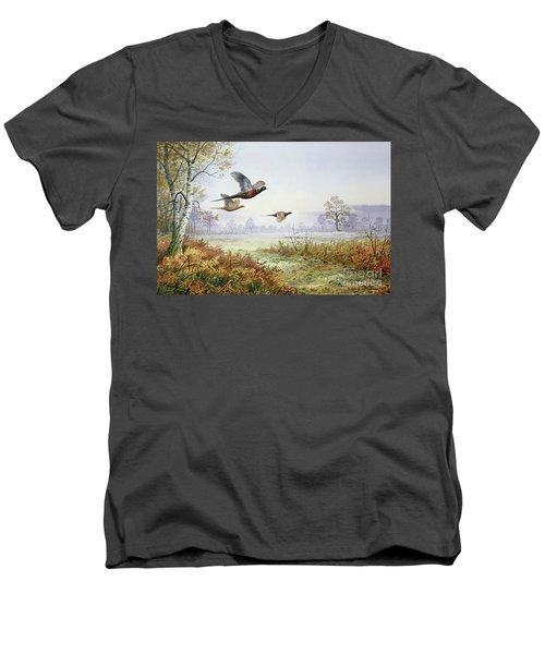 Pheasants In Flight  Men's V-Neck T-Shirt by Carl Donner