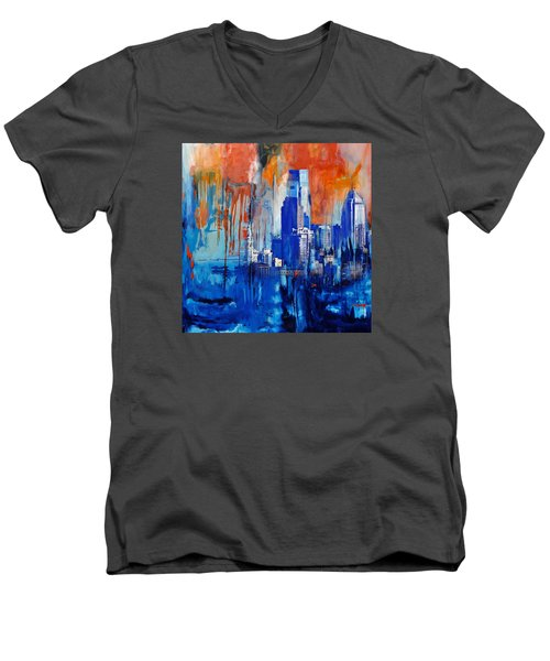 Philadelphia Skyline 227 1 Men's V-Neck T-Shirt by Mawra Tahreem