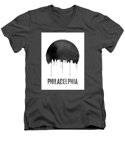 Philadelphia Skyline White Men's V-Neck T-Shirt by Naxart Studio