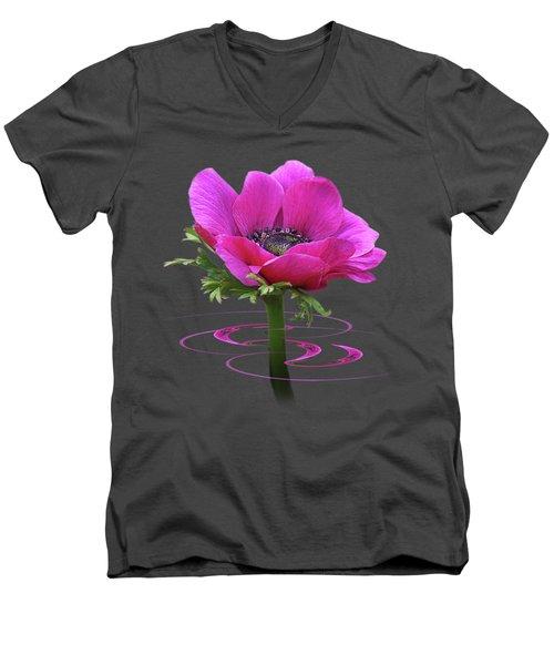 Pink Anemone Whirl Men's V-Neck T-Shirt by Gill Billington