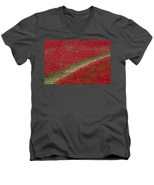 Poppies Of Remembrance Men's V-Neck T-Shirt by Martin Newman