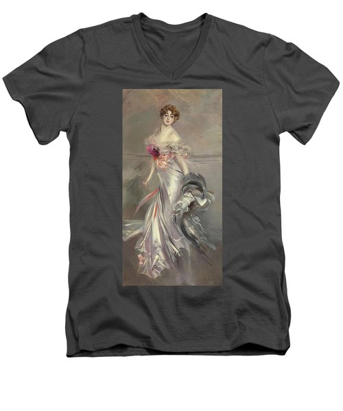 Portrait Of Marthe Regnier Men's V-Neck T-Shirt by Giovanni Boldini