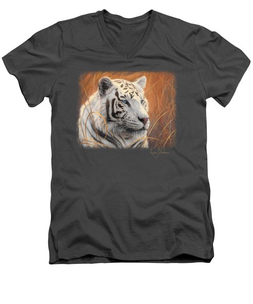 Portrait White Tiger 2 Men's V-Neck T-Shirt by Lucie Bilodeau